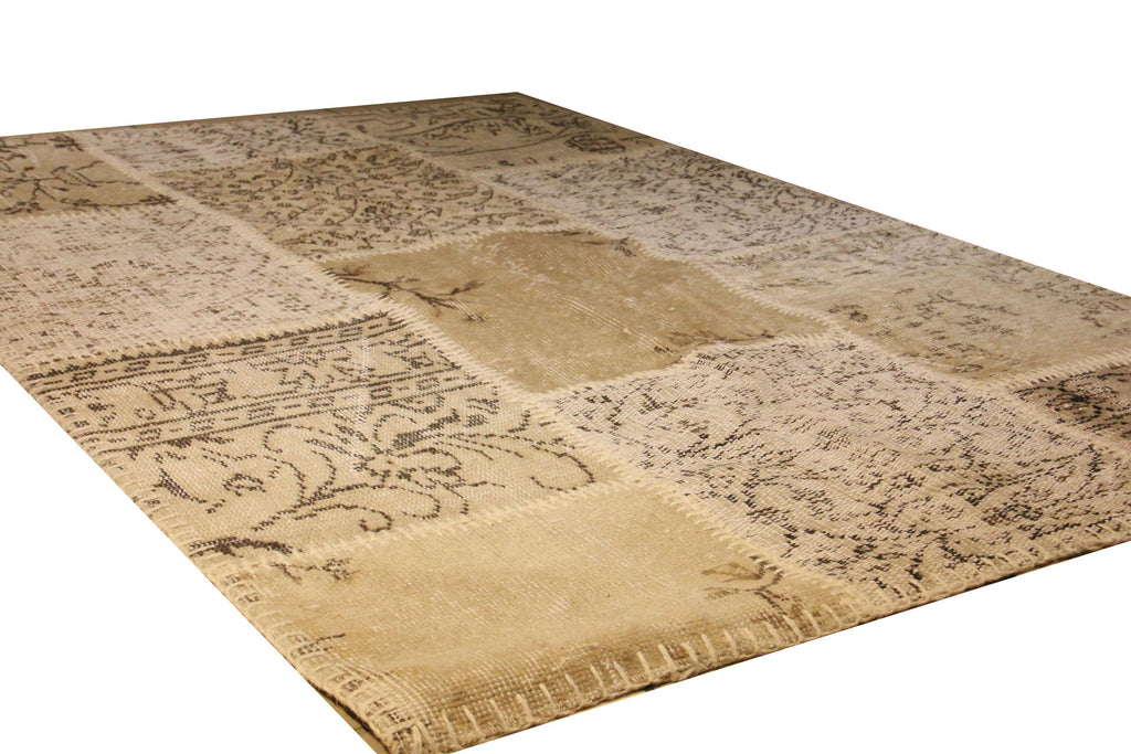 Turkish Patchwork Style Hand Knotted Rug 4' x 6'
