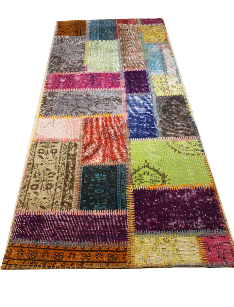 Turkish Patchwork Style Hand Knotted Rug 2'.5' x 6'.8""