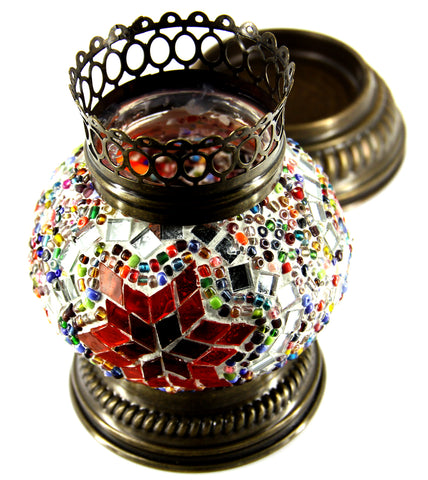 Flower Design Mosaic Candle Holder