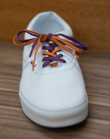 Low top van's shoes with 2 different colored laces