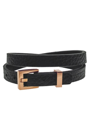 Mister Theory Leather Bracelet V2 - Black & Rose Gold-ACCESSORIES,FOR HER-Mister SFC