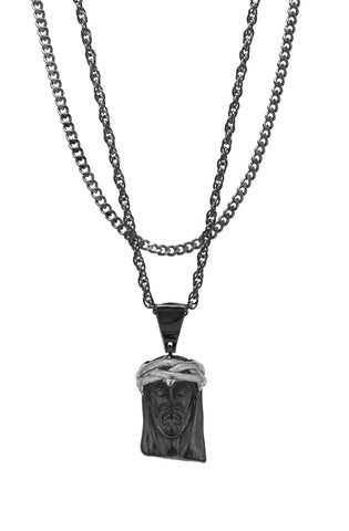 Mister  2 Tone Jesus Piece Necklace - Black & Chrome