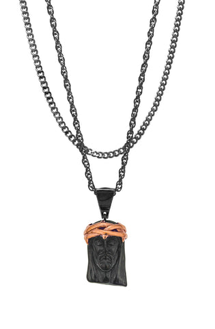 Mister  2 Tone Jesus Piece Necklace - Black & Rose Gold