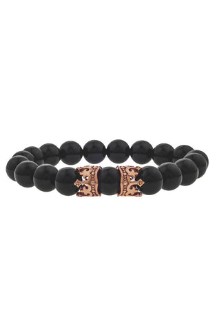 Mister King Bead Bracelet - Onyx & Rose Gold
