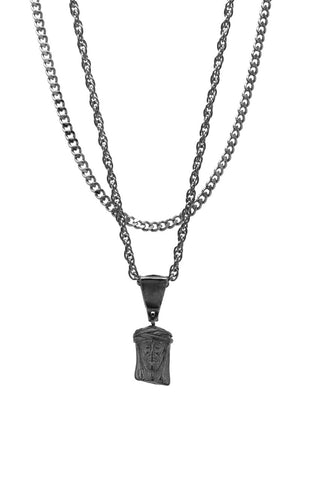 Mister  Mini Jesus Piece Necklace - Black