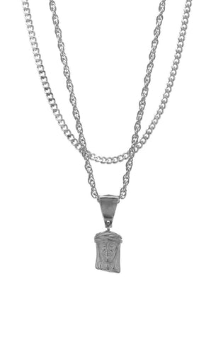 Mister  Mini Jesus Piece Necklace - Chrome