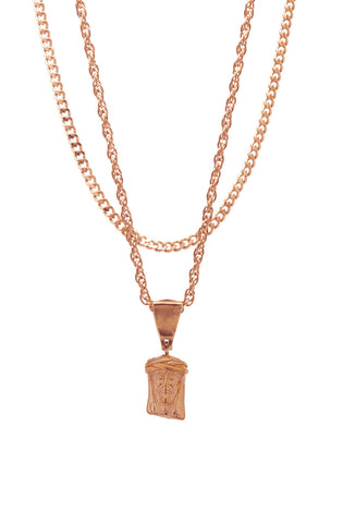 Mister  Mini Jesus Piece Necklace - Rose Gold