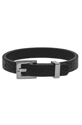 Mister Theory Leather Bracelet - Black & Chrome-ACCESSORIES,FOR HER-Mister SFC