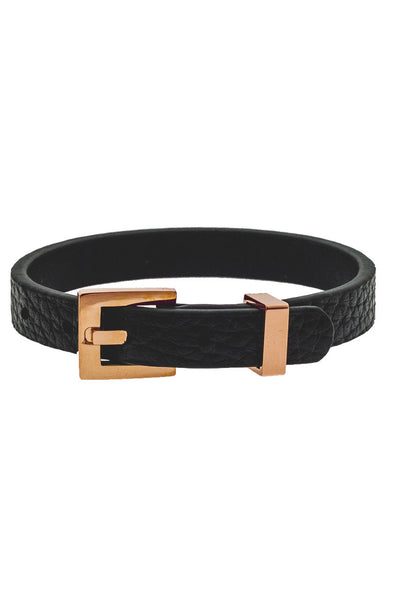 Mister Theory Leather Bracelet - Black & Rose Gold-ACCESSORIES,FOR HER-Mister SFC