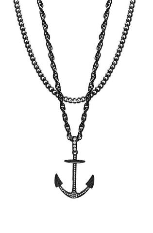Mister  Anchor Necklace - Black