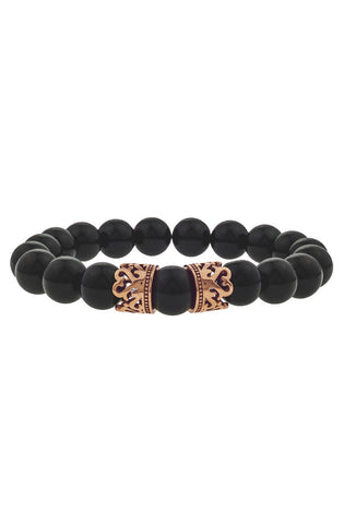 Mister Queen Bead Bracelet - Onyx & Rose Gold-ACCESSORIES,FOR HER-Mister SFC