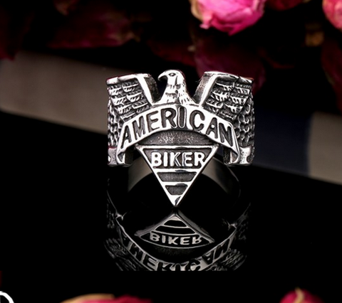 Great American Biker Ring  Stainless Steel