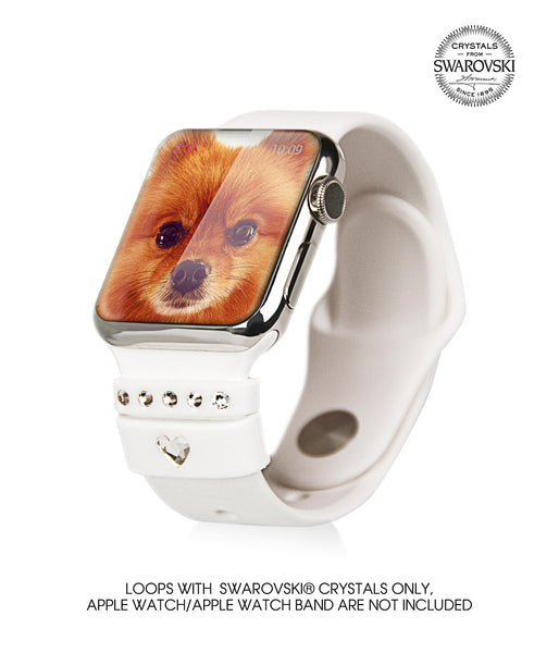 White Silicone Fashion Loops for Apple Watch Series 1 and Series 2 38mm & 42mm, Swarovski (Crystal),  Allure Crystal Collection