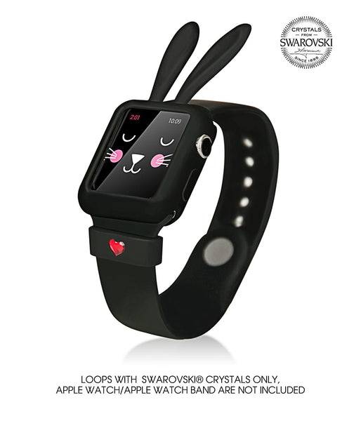 Black Silicone Bunny Ear Bumper | Fashion Apple Watch Accessories Series 1 and Series 2 - Bling My Thing - Bling My Thing