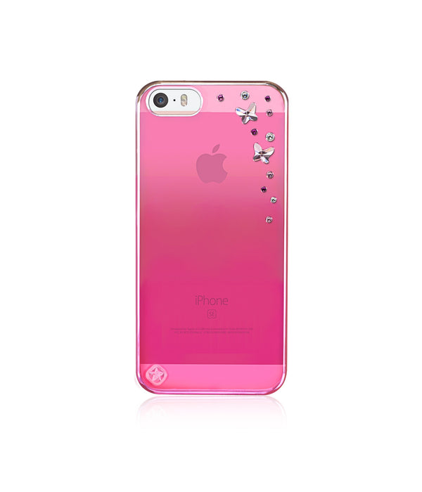 Pink Metallic Mirror Case for iPhone SE : Butterflies / Light Rose - Bling My Thing