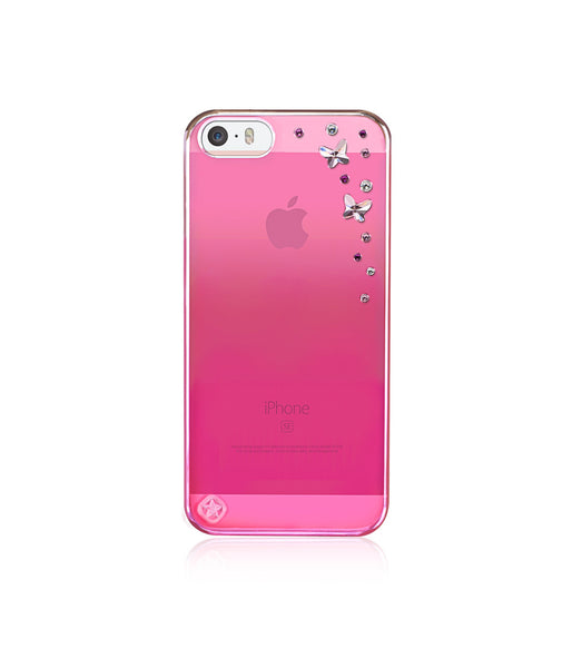 Pink Metallic Mirror Case for iPhone SE : Butterflies / Light Rose