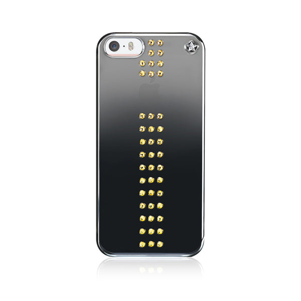 Black Metallic Mirror Case for iPhone SE : Stripe / Light Topaz - Bling My Thing