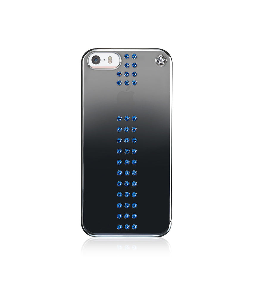 Black Metallic Mirror Case for iPhone SE : Stripe / Capri Blue - Bling My Thing