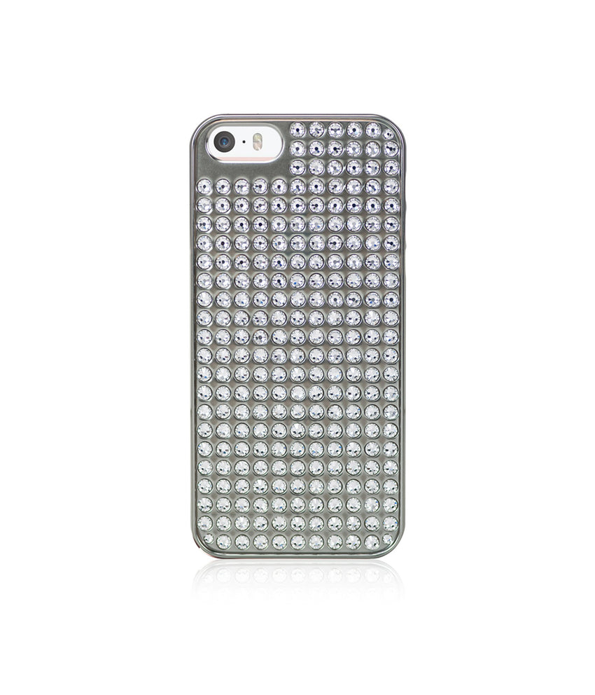 Pure Bling Extravaganza Silver Metallic Case for iPhone SE / Crystal - Bling My Thing