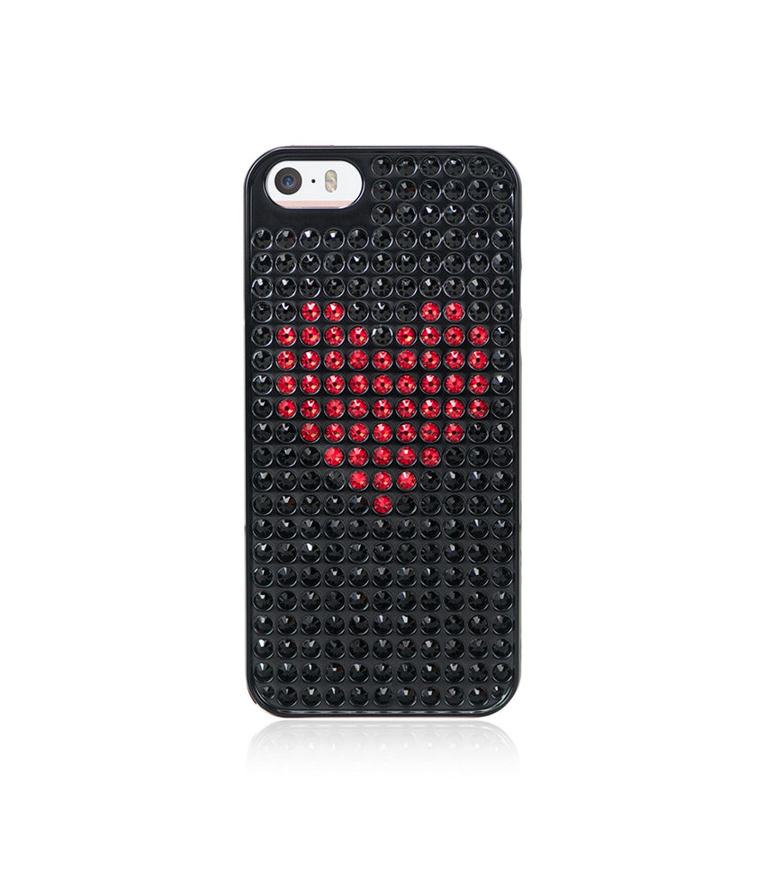 Heart Bling Extravaganza Black Metallic Case for iPhone SE / Jet and Red Heart - Bling My Thing