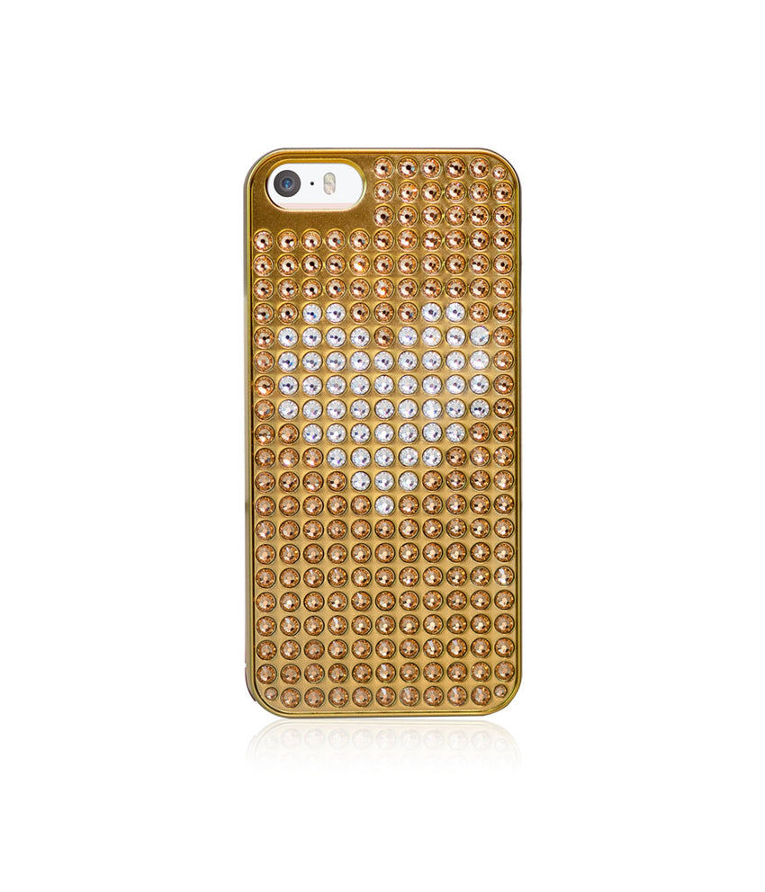 Heart Bling Extravaganza Gold Metallic Case for iPhone SE / Light Colorado Topaz & Crystal Heart - Bling My Thing