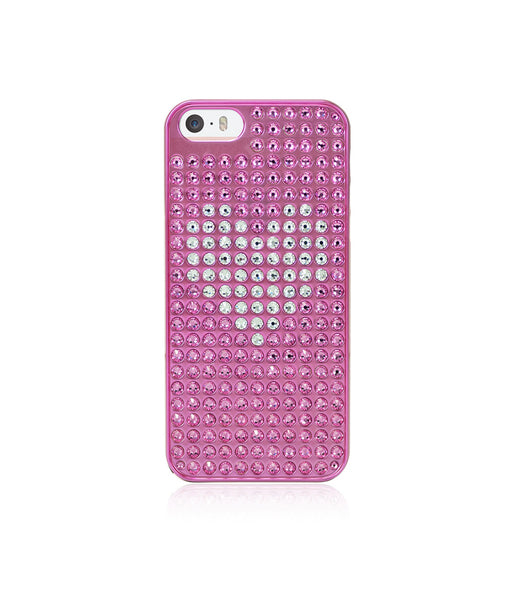 Heart Bling Extravaganza Pink Metallic Case for iPhone SE / Crystal Heart - Bling My Thing