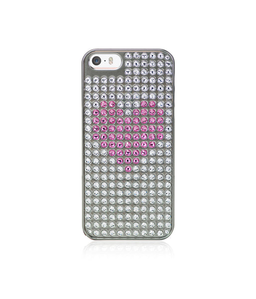 Heart Bling Extravaganza Silver Metallic Case for iPhone SE / Rose & Crystal Heart