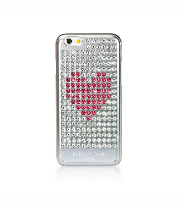 Heart on Silver, Crystal/Indian Pink Heart, Extravaganza, iPhone 6/6s Case - Bling My Thing