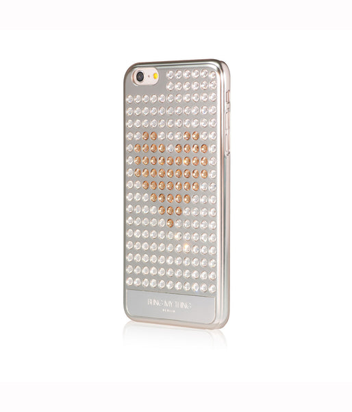 Ultimate Sparkle! Extravaganza Heart case iPhone 6 Plus: Swarovski® Crystals designer cover Bling My Thing - Silver - Crystal + Gold Heart - Bling My Thing
