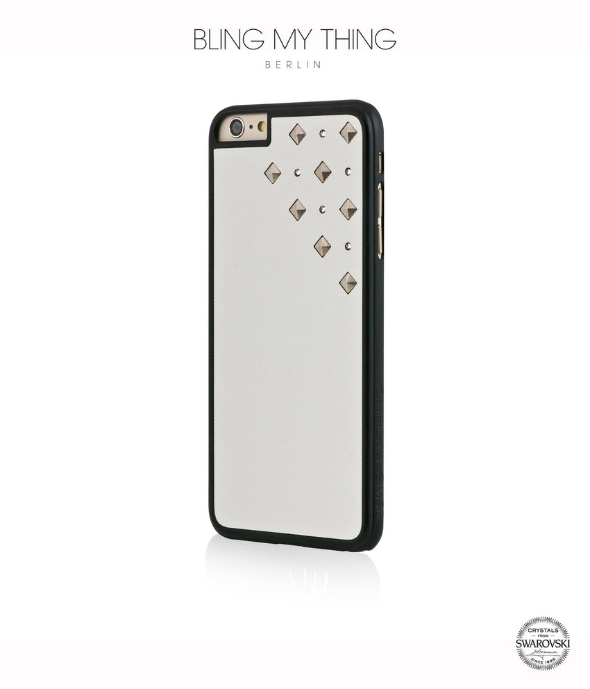 Polar Blizzard, White Faux Leather/Crystal/Silver Studs, Metallique, Stylish iPhone 6 Plus Case - Bling My Thing