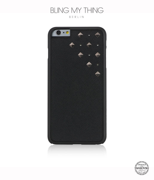 Cosmic Storm, Black Faux Leather/Crystal Silver Night/Gunmetal Studs, Metallique, Stylish iPhone 6 Plus Case - Bling My Thing