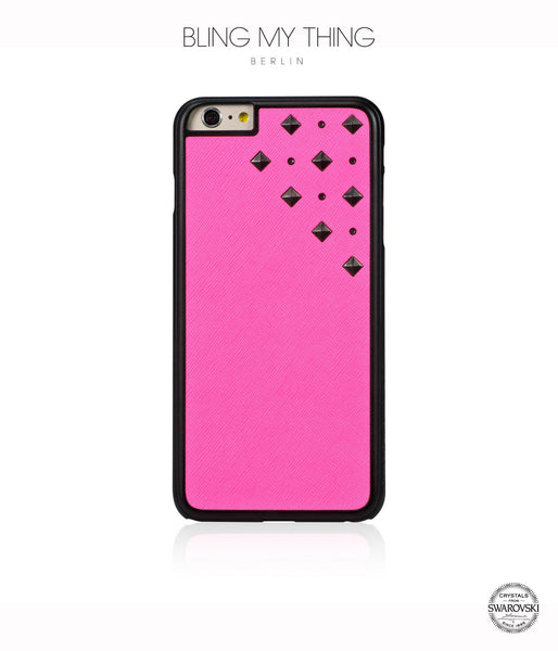 Meteor Shower, Pink Faux Leather/Crystal Silver Night/Gunmetal Studs, Metallique, Stylish iPhone 6 Plus Case - Bling My Thing