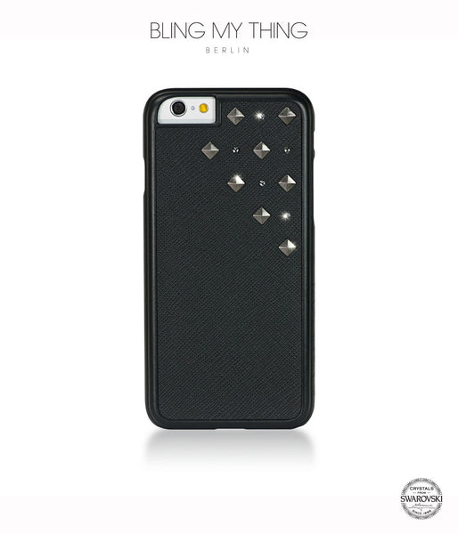 Cosmic Storm, Black Faux Leather/Crystal Silver Night/Gunmetal Studs, Metallique, iPhone 6/6s Case - Bling My Thing