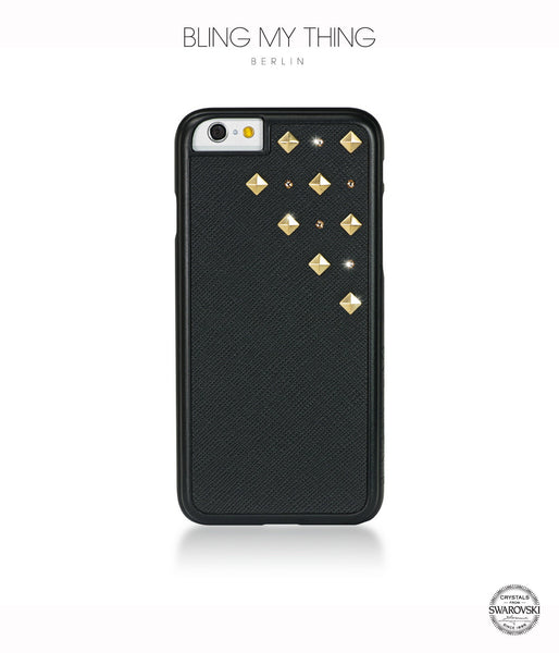 Solar Flare, Black Faux Leather/Light Colorado Topaz/Gold Studs, Metallique, iPhone 6/6s Case