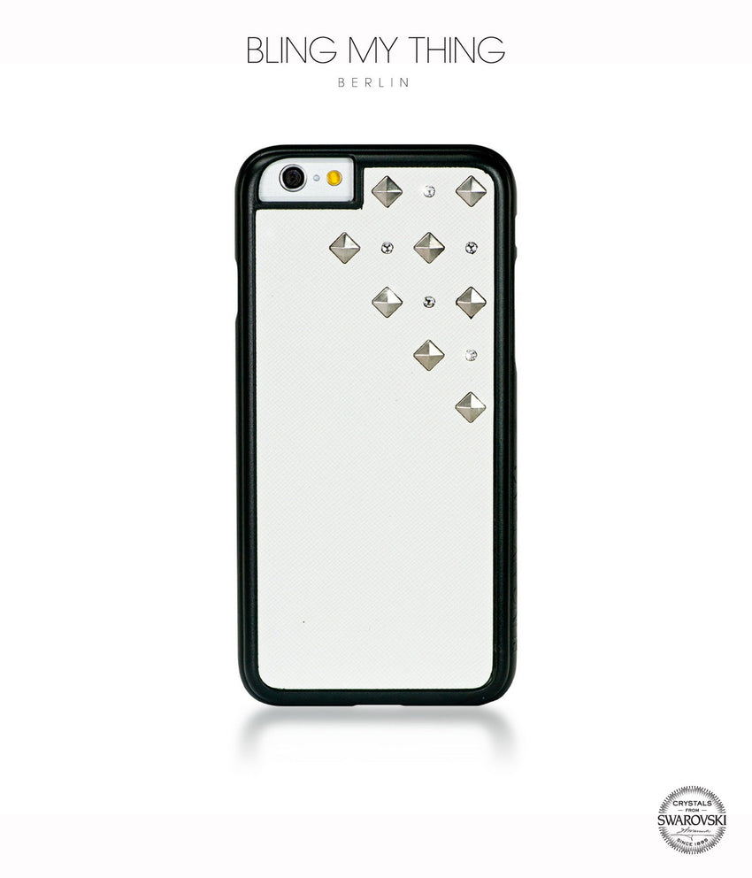 Polar Blizzard, White Faux Leather/Crystal/Silver Studs, Metallique, iPhone 6/6s Case - Bling My Thing
