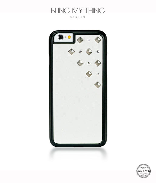 Polar Blizzard, White Faux Leather/Crystal/Silver Studs, Metallique, iPhone 6/6s Case