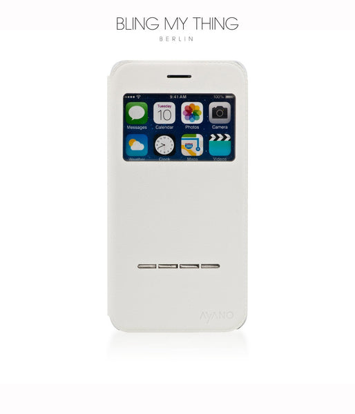 Super functional Primo Blanco iPhone 6/6s Plus: White Horizontal Flip Faux Leather case with Stand and touch-sensitive sliding bar - Bling My Thing