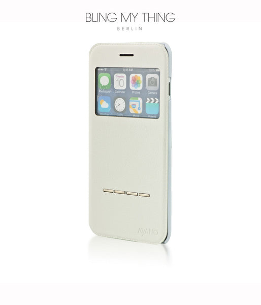 Super functional Primo Blanco iPhone 6/6s Plus: White Horizontal Flip Faux Leather case with Stand and touch-sensitive sliding bar