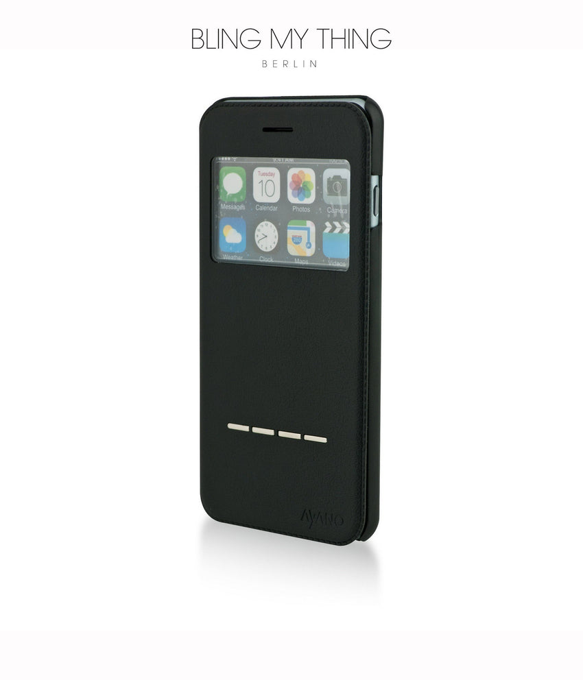 Super functional Primo Nero iPhone 6/6s Plus: Black Horizontal Flip Faux Leather case with Stand and touch-sensitive sliding bar - Bling My Thing
