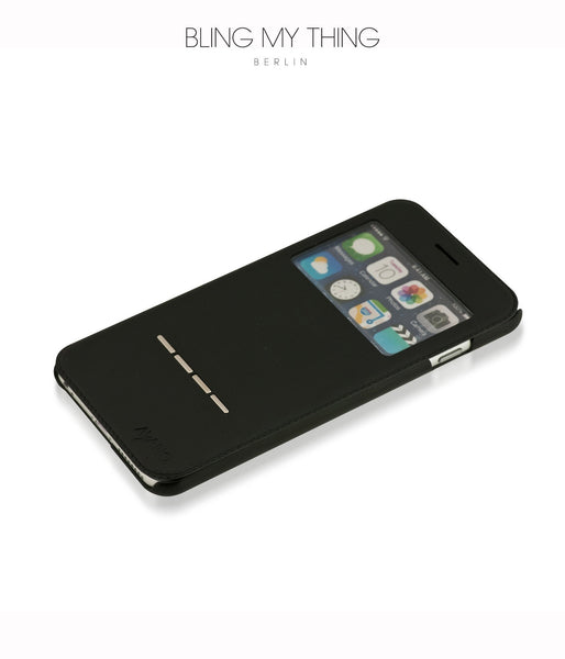 Super functional Primo Nero iPhone 6/6s Plus: Black Horizontal Flip Faux Leather case with Stand and touch-sensitive sliding bar
