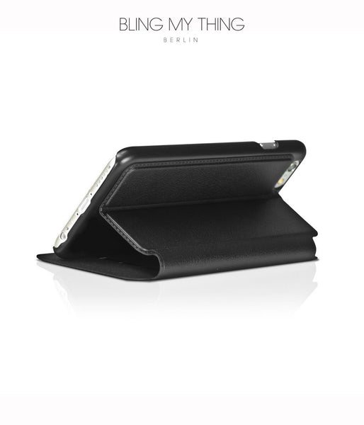 Primo Nero, Flip Case/Black Faux Leather, with Stand, iPhone 6/6s Case