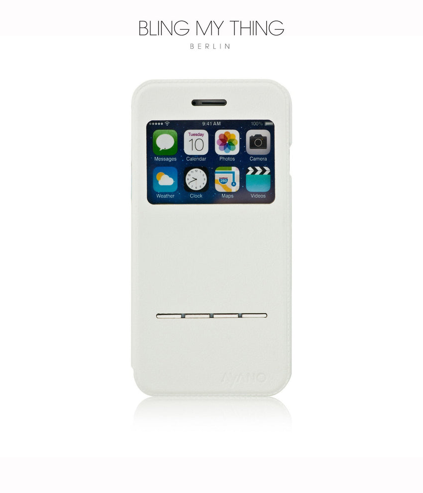Super functional Primo Blanco iPhone 6/6s : White Horizontal Flip Faux Leather case with Stand and touch-sensitive sliding bar - Bling My Thing