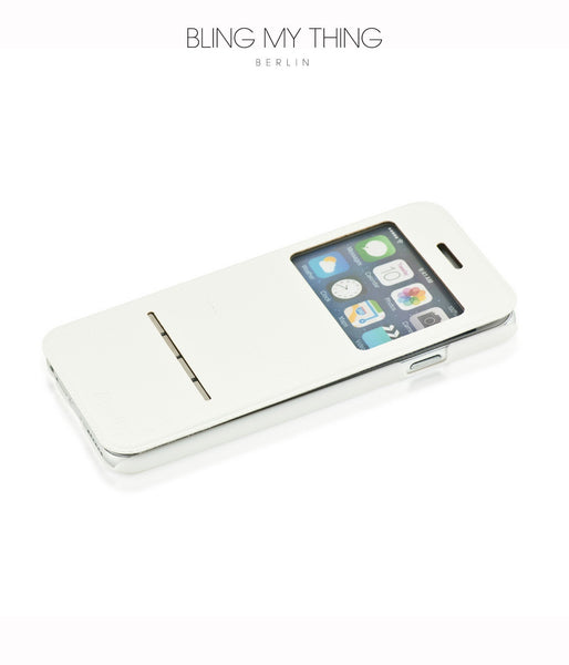 Super functional Primo Blanco iPhone 6/6s : White Horizontal Flip Faux Leather case with Stand and touch-sensitive sliding bar