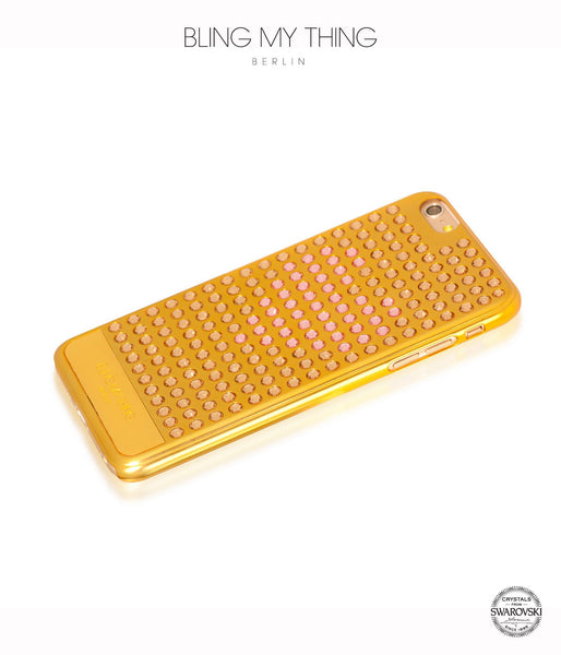 Ultimate Sparkle! Extravaganza Heart case iPhone 6 Plus: Swarovski® Crystals designer cover Bling My Thing - Gold + Pink Heart