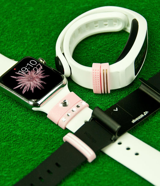 Pink Silicone Fashion Loops with Swarovski Crystals | Fashion Apple Watch Series 1 and Series 2 Accessories - Bling My Thing