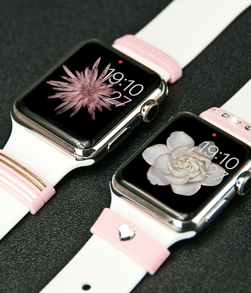 Pink Silicone Fashion Loops with Swarovski Crystals | Fashion Apple Watch Accessories - Bling My Thing - Bling My Thing