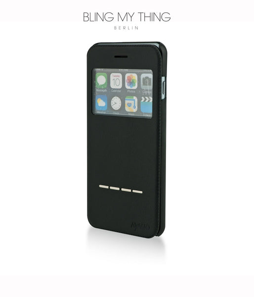 Super functional Primo Nero iPhone 6s Plus : Black Horizontal Flip Faux Leather case with Stand and touch-sensitive sliding bar