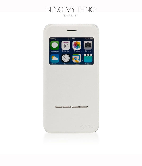 Super functional Primo Blanco iPhone 6s Plus : White Horizontal Flip Faux Leather case with Stand and touch-sensitive sliding bar - Bling My Thing