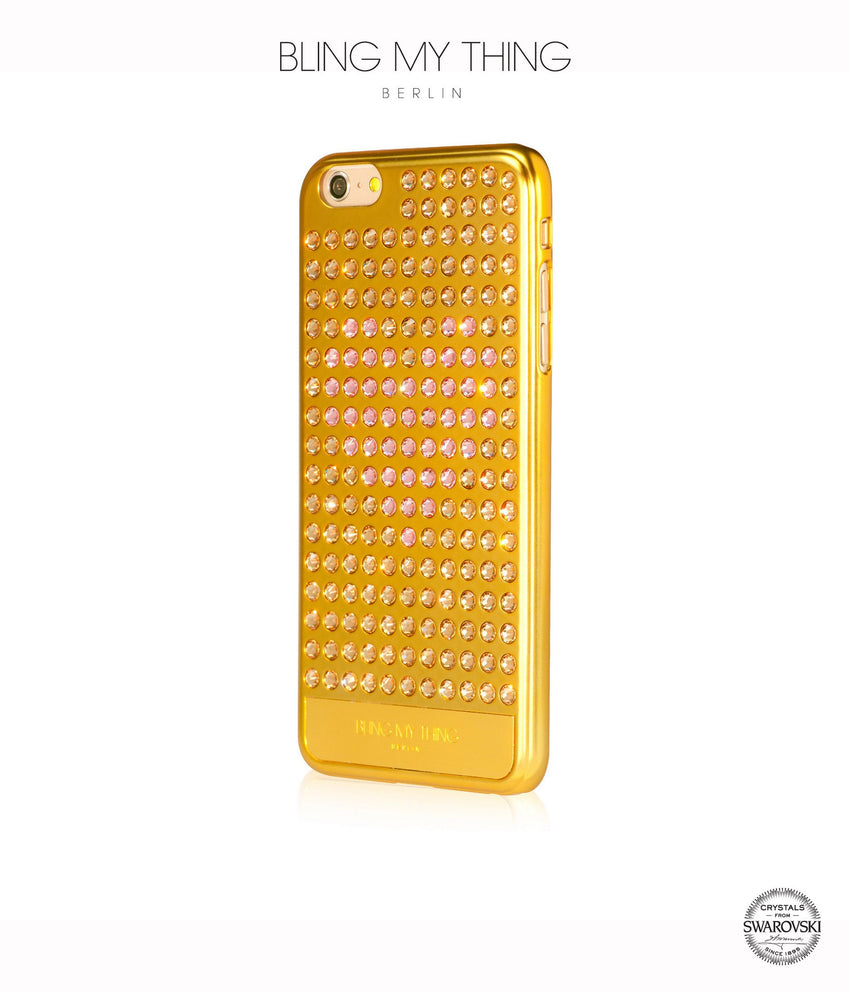 Ultimate Sparkle! Extravaganza Heart case iPhone 6s Plus: Swarovski ® Crystals designer cover Bling My Thing - Gold + Pink Heart - Bling My Thing