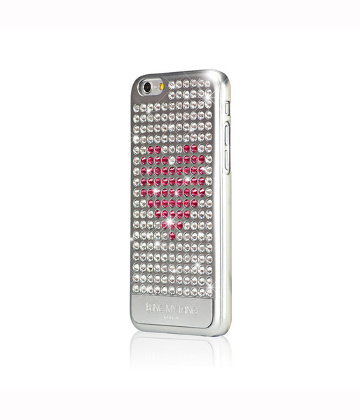 Heart on Silver, Crystal/Indian Pink Heart, Extravaganza, iPhone 6s Case - Bling My Thing
